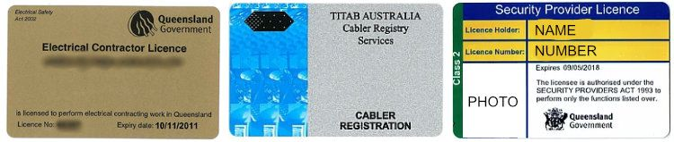 Electrical, Cabler and Security licences
