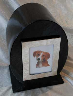 Oval pet urn with photo
