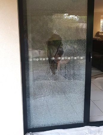 Broken Glass Sliding Door