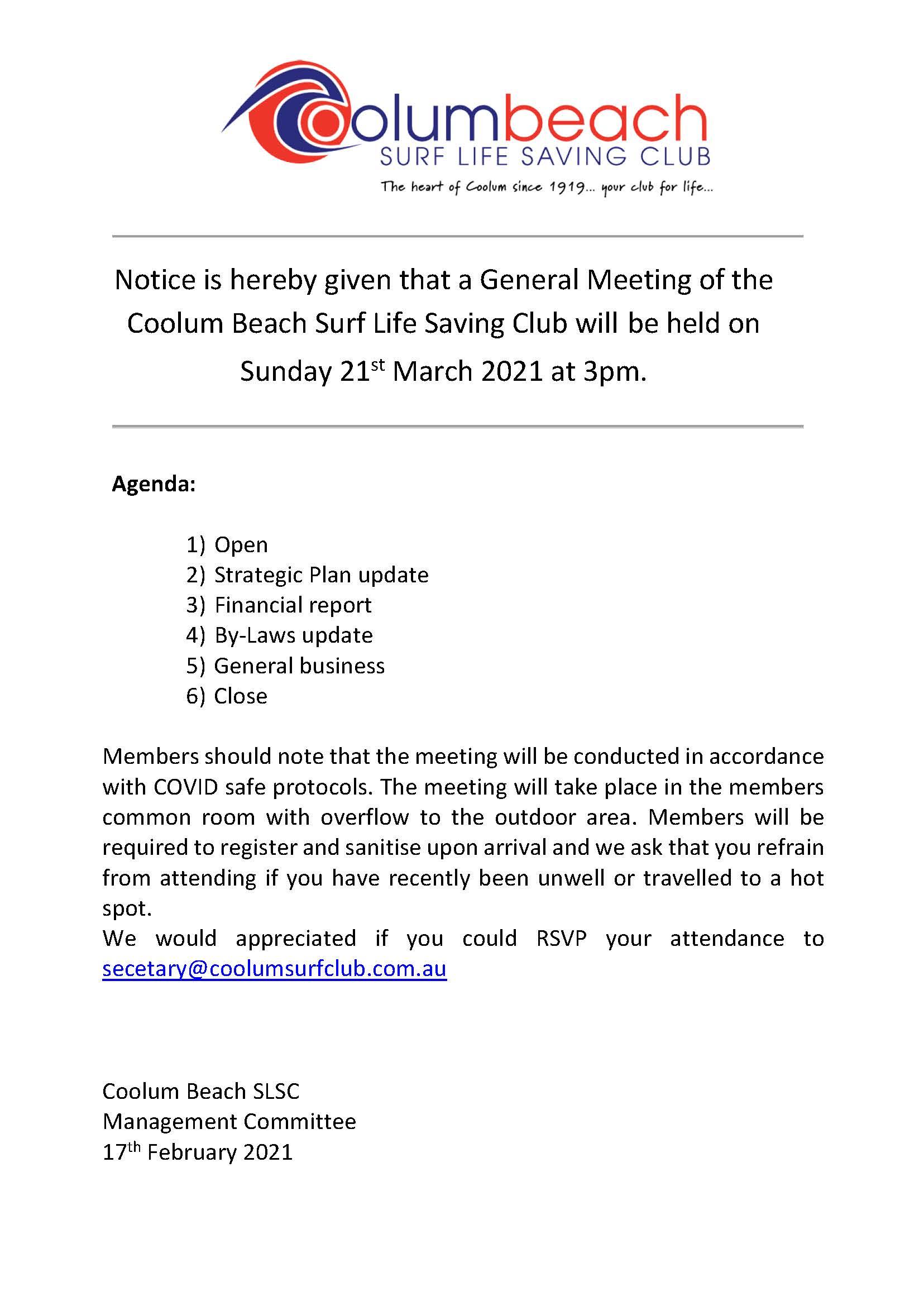 General Meeting March 2021 Agenda